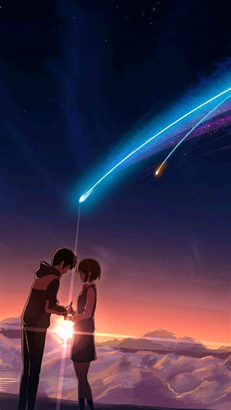Anime Lovers Couple Shooting Star iPhone Wallpaper