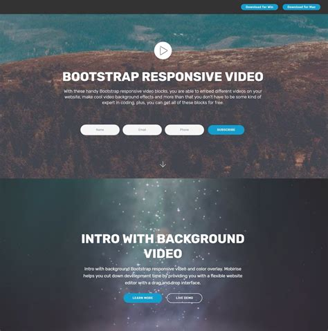 Shocking Free Bootstrap Modal Video Players and Dropdown